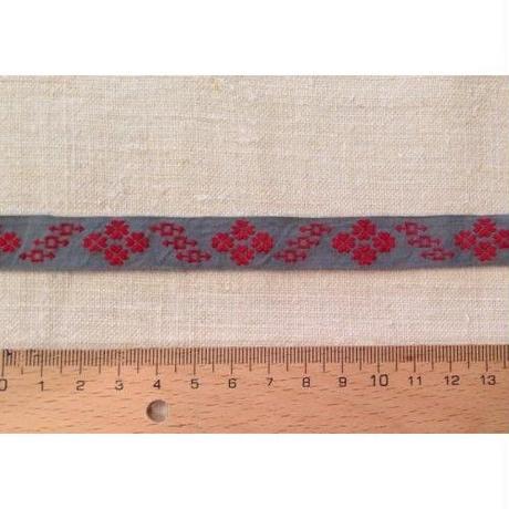 手芸テープ グレーに赤い花