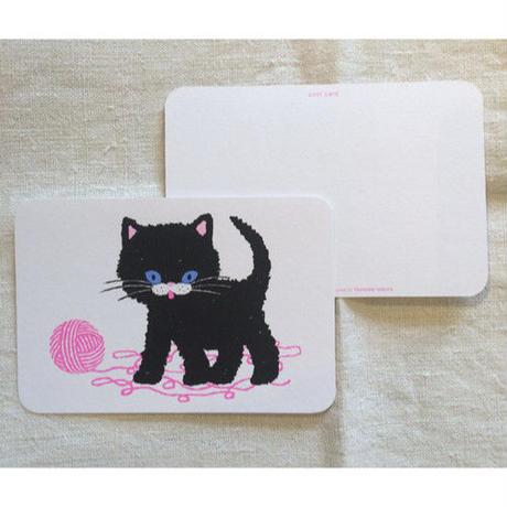 オリジナルポストカード・黒ネコと毛糸・2枚