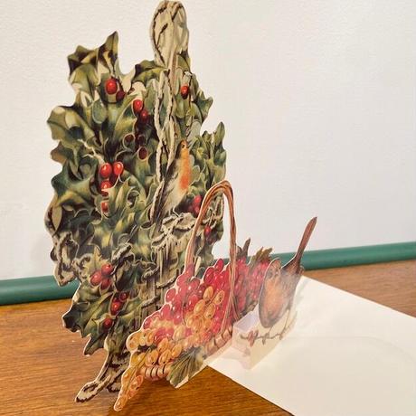 3Dクリスマスカード・ヒイラギとロビン