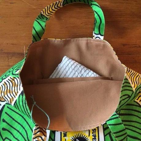 アフリカンプリントバッグS 19・毛糸