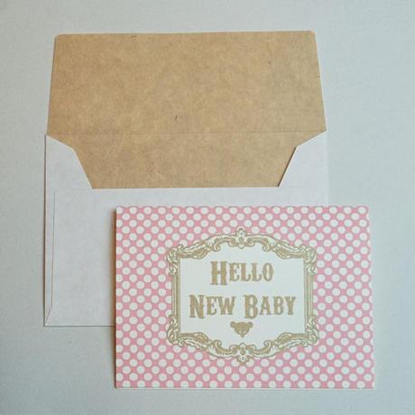 ミニグリーティングカード(封筒付き)・出産祝い(ピンク)