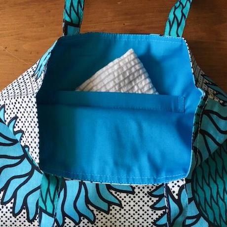アフリカンプリントバッグS 36・ひまわりブルー