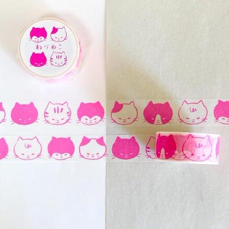 ツバメブックスマスキングテープ・ねづねこ(蛍光ピンク)