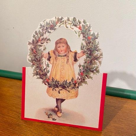 クリスマスカード・リースと女の子