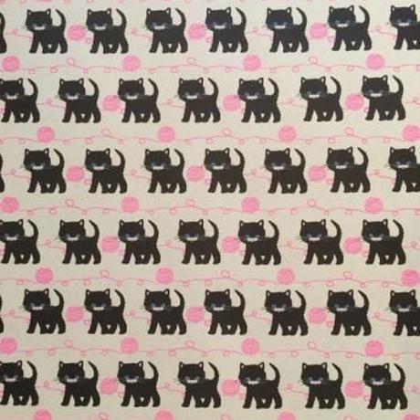 ミニラッピングペーパー(黒ネコと毛糸)