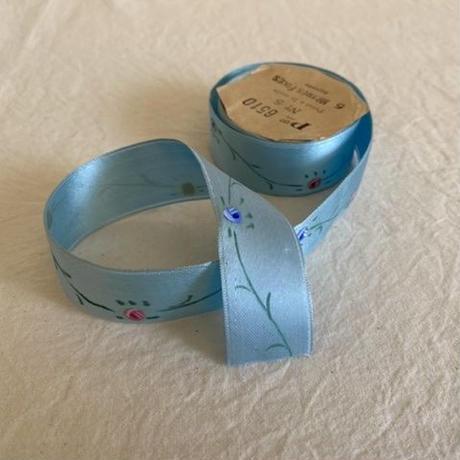 ヴィンテージリボン38・お花ハンドペイント50cm