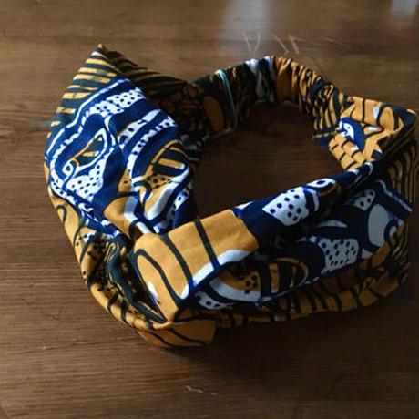 アフリカンプリントヘアバンド31・はさみオレンジ