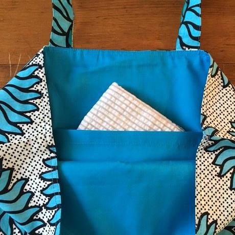 アフリカンプリントバッグ 22・ひまわりブルー