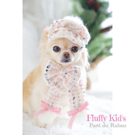 Fluffy  Kid's お帽子、マフラー、おリボン 3点セット