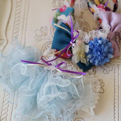 《Wa.ruban》彩 ブルー カチューシャ&フリフリチョーカー