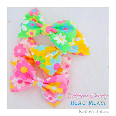 Colorful Candy Retro  Flower お帽子&チョーカー