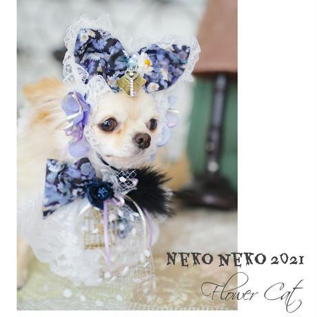Neko neko 2021 FlowerCat ネコ耳&リボンチョーカー ハロウィンカラーブラック