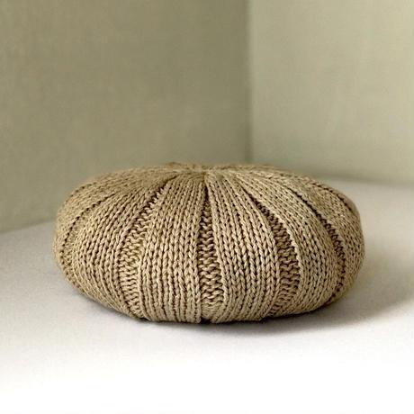 ジンバブエコットンのふんわりニットベレー帽 ベージュ杢