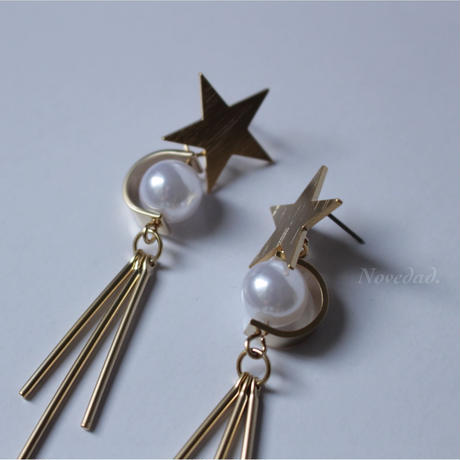 pearl tassel STAR pierce/earring