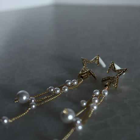 STAR metal×pearl tassel pierce