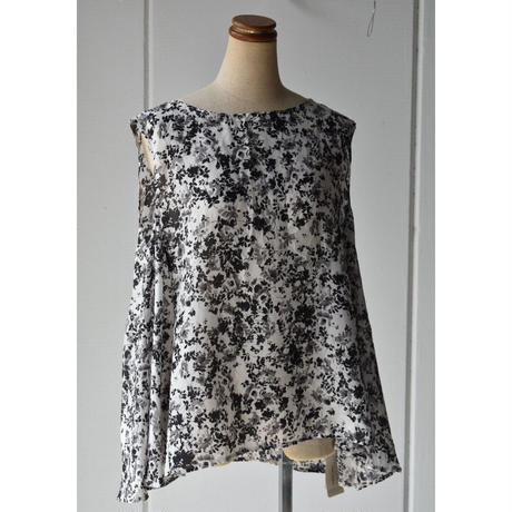 TOUJOURS   patched flared tank shirt