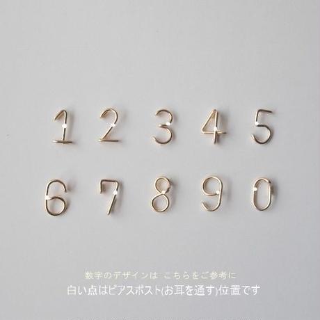ひとつぶ数字(ナンバー)と誕生石のスタッドピアス