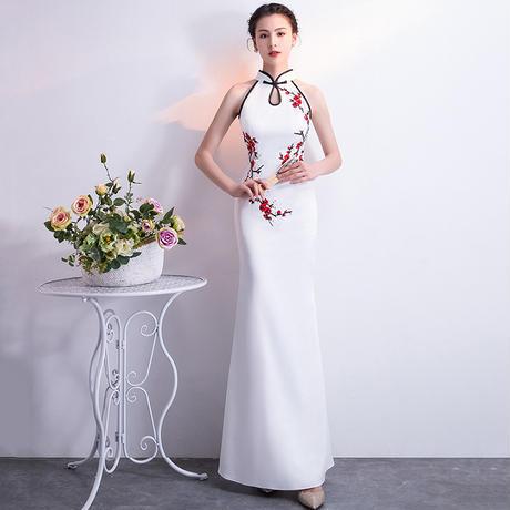 20代30代 チャイナドレス風アジアンテイストタイトロングドレス