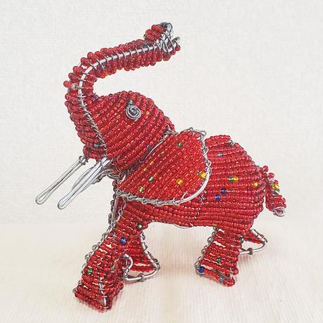 南アフリカの可愛いビーズアニマル(ゾウ、象)赤 レッド