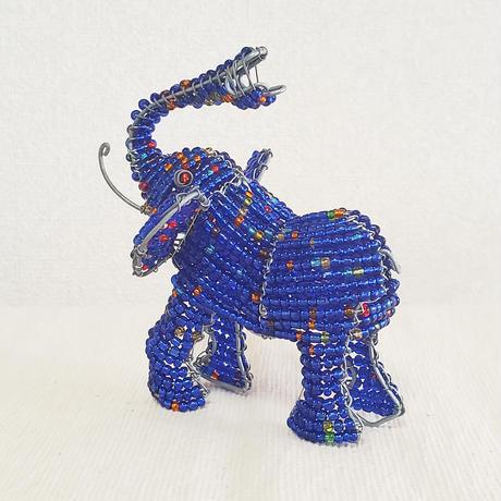 南アフリカの可愛いビーズアニマル(ゾウ、象)ブルー