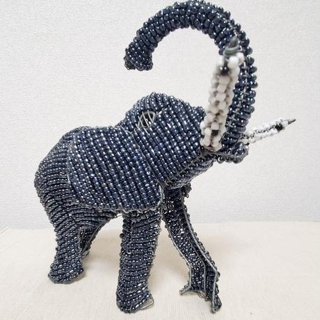 南アフリカの可愛いビーズアニマル(ゾウ、象)チャコールグレー