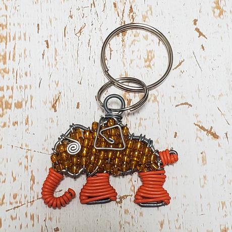 南アフリカの小さなビーズアニマルキーリング(ゾウ、象)