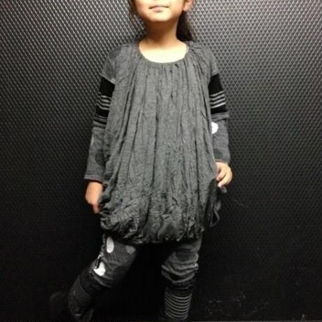 gomme ENFANT(子供服)/ドッキングレギンス(トップチャコール)サイズ(L)