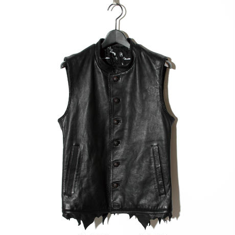Hand-stitched Leopard Leather Vest / BLACK 2902306