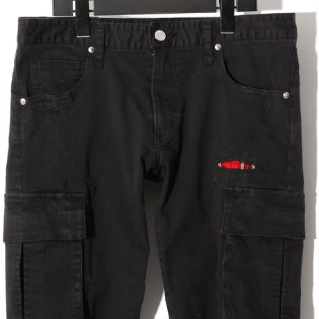 Patched Stretch Skinny Cargo Pants / BLACK 2905402