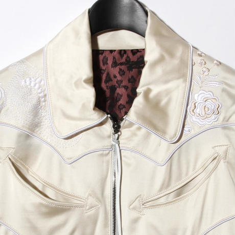 Rose Embroidery Satin Blouson / WHITE 2902311