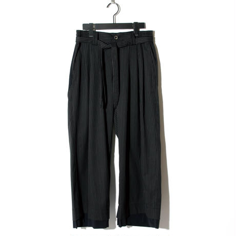-Atelier sale-Waist Cord Wide Pants / BLACK STRIPE 2902408