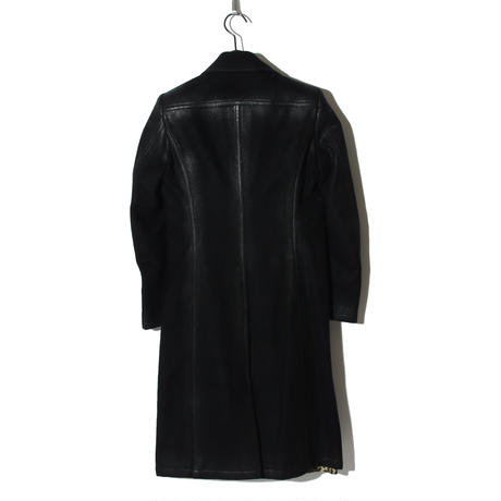 -Atelier sale-Cashmere Beaver Wool Long Coat Leather Like / BLACK 2902313