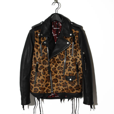 Hand-stitched Leopard Leather Rider's / BLACK×ヒョウ 2902305