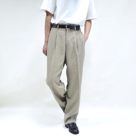 "2 tuck ""light"" wide pants / beige [P-0028]"