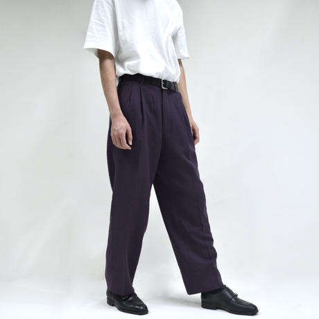 2 tuck straight wide pants / purple [P-0035]