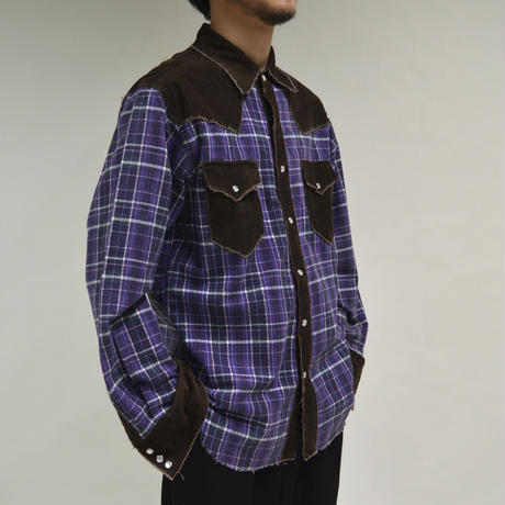 western-like cut-off purple shirt [T-0020]