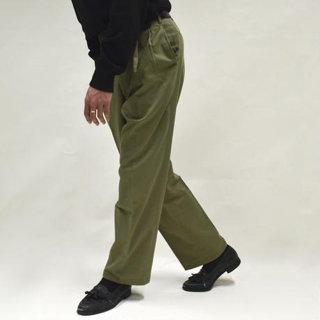 2-tuck Straight Pants / green [P-0004]