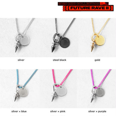 SPIKE & color chain short necklace