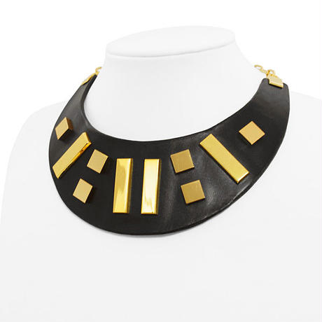 10 SQUARES leather big necklace