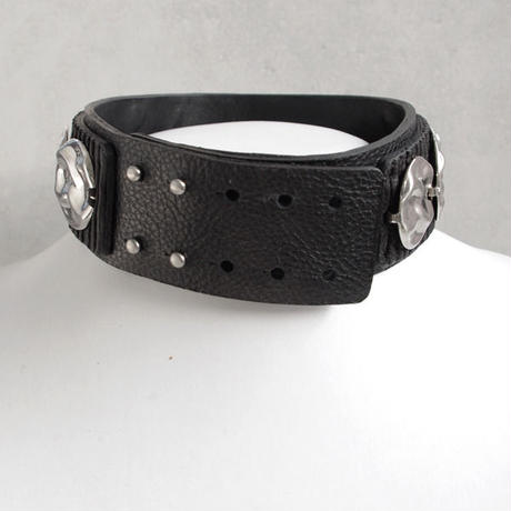 CIRCLE PLATE leather choker
