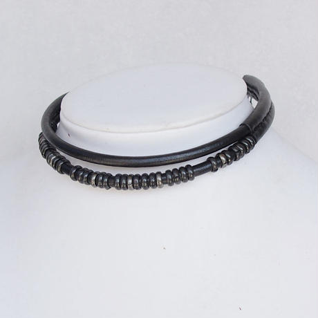 DOUBLE leather choker