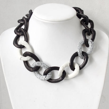 WRAPPED LEATHER big chain necklace