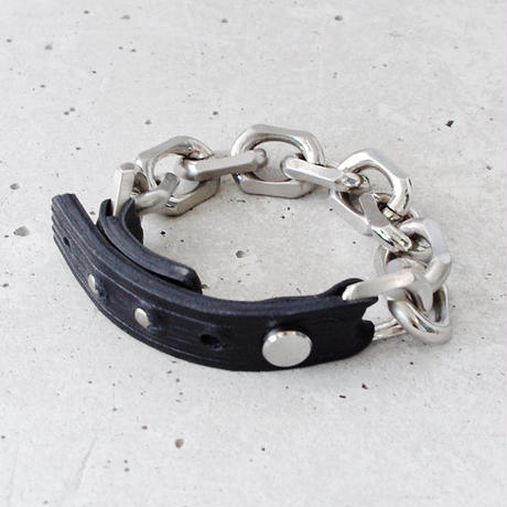 BIG CHAIN & leather bracelet