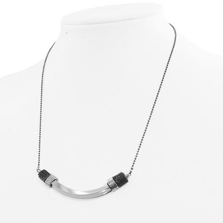 METAL TUBE & ring short necklace