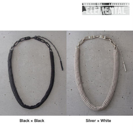 CHAIN & MESH leather short necklace