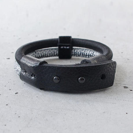 SHOCK CODE & leather double bracelet