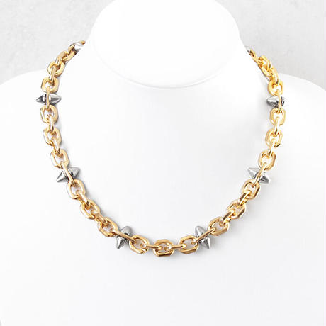 SPIKE & oval chain short necklace