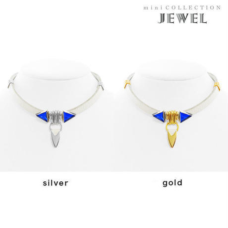 TUSK jewel choker (white × blue)