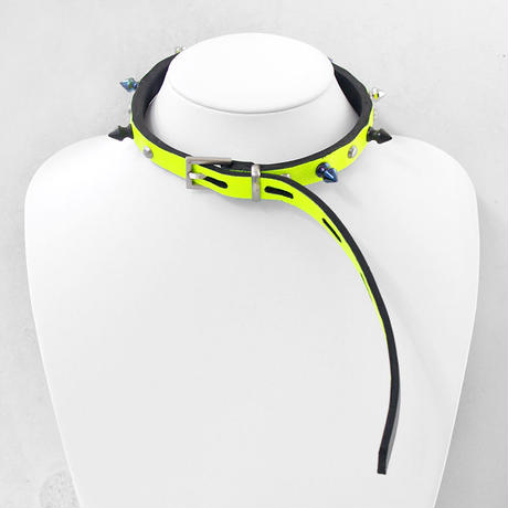 SPIKE leather belt choker