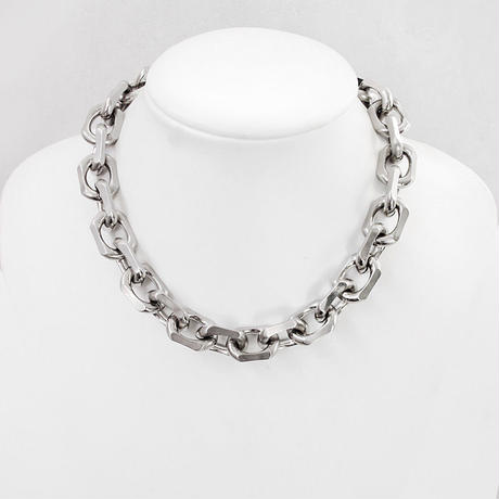 BIG CHAIN & leather short necklace